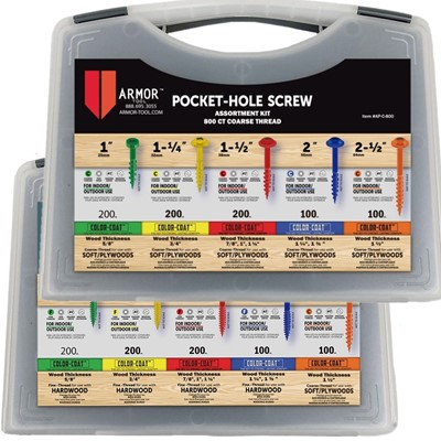 Armor Tool Pocket Hole Screws Double Kit - Coarse & Fine - Two Boxes of 800