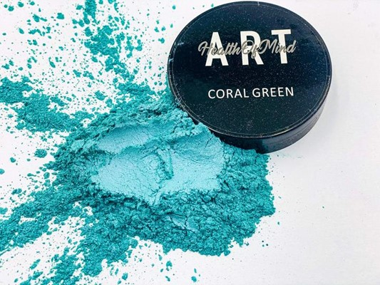 Health of Mind Art Pearlescent Pigment Powder - Coral Green