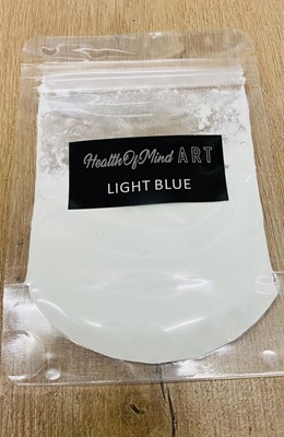 Health of Mind Art Glow In The Dark Pigment Powder - Light Blue Cures Black